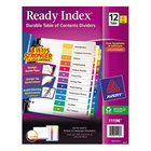 Avery AVE11196 Ready Index 12-Tab Multi-Color Table of Contents Divider Set - 6/Pack