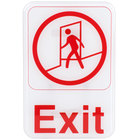 9 inch x 6 inch Red and White Exit Sign