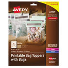 """Avery AVE22801 1 3/4"""" x 5"""" White Printable Bag Toppers with Bags - 40/Pack"""