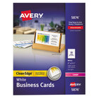 """Avery AVE5874 2"""" x 3 1/2"""" Uncoated White Clean Edge Business Cards - 1000/Pack"""