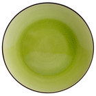 CAC 666-21-G Japanese Style 12 inch China Coupe Plate - Black Non-Glare Glaze / Golden Green - 12/Case