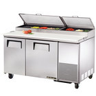 True TPP-60 60 inch Two Door Refrigerated Pizza Prep Table