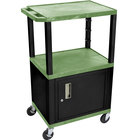 Luxor / H. Wilson WT2642GC2E-B Green Tuffy Two Shelf Adjustable Height A/V Cart with Locking Cabinet - 18 inch x 24 inch