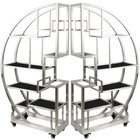 """Eastern Tabletop AC1790BK 72 1/2"""" x 13 3/4"""" x 72"""" Cartwheel Stainless Steel Rolling Buffet Set with Black Acrylic Shelves"""