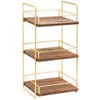 Cal-Mil 3704-3-46 Mid-Century Wood and Brass Three Tier Merchandiser - 13
