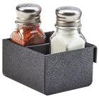 Cal-Mil 3574-13 Black Slanted Organizer Plastic Split Shaker and Packet Holder - 3 1/2 inch x 3 1/2 inch x 2 inch