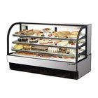 True TCGR-77 77 inch Stainless Steel Curved Glass Refrigerated Bakery Display Case - 43 Cu. Ft.