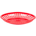 Tablecraft C1084R Red Jumbo Oval Polypropylene Fast Food Basket - 12/Pack