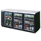 Beverage Air BB78G-1-B-LED 79 inch Back Bar Refrigerator with 3 Glass Doors - 115V, LED Lighting