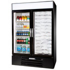 Beverage Air Market Max MMRF49-1-B-LED-B Black 2-Glass Door Dual Merchandising Refrigerator / Freezer with LED Lighting- 49 Cu. Ft.