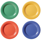 GET WP-10-MIX Diamond Mardi Gras 10 1/2 inch Wide Rim Round Melamine Plate, Assorted Colors - 12/Case