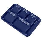 Carlisle 4398850 Dark Blue 10 inch x 14 inch Heavy Weight Melamine Right Hand 6 Compartment Tray