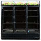 True GDM-72FC-LD Black Three Glass Swing Door Floral Case - 72 Cu. Ft.