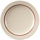 Homer Laughlin 1492-0344 Gothic Red Jade 6 1/4 inch Narrow Rim Off White Plate - 36/Case