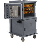 Cambro UPCHT16002191 Granite Gray Ultra Camcart Two Compartment Heated Holding Pan Carrier with Casters, Top Compartment Heated - 220V (International Use Only)