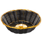 Choice 7 3/4 inch Round Black and Gold Rattan Basket - 12/Case