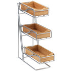 Cal-Mil 1235-39-60 Platinum Three Tier Flatware Display with Bamboo Bins - 5 1/4 inch x 14 inch x 18 inch