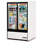 True GDM-33CPT-LD White Narrow Sliding Door Pass-Through Glass Door Merchandiser Refrigerator - 17 Cu. Ft.