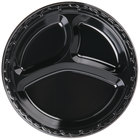 Genpak BLK13 Silhouette 10 1/4 inch 3 Compartment Black Premium Plastic Plate   - 400/Case
