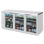Beverage Air BB72GY-1-S-27-LED 72 inch Stainless Steel Back Bar Refrigerator with 3 Glass Doors and Stainless Steel Top - 115V, LED Lighting