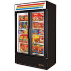 True GDM-43F-LD Black Two Glass Door Merchandiser Freezer - 40.6 Cu. Ft.