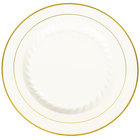 Fineline Silver Splendor 510-BO 10 inch Bone / Ivory Plastic Plate with Gold Bands - 120 / Case