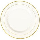 Fineline Silver Splendor 510-BO 10 inch Bone / Ivory Plastic Plate with Gold Bands - 120/Case