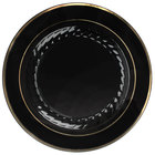 Fineline Silver Splendor 510-BKG 10 inch Black Plastic Plate with Gold Bands - 12/Pack
