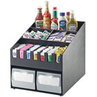 Cal-Mil 2044 Classic Black Condiment Organizer with Dual Napkin Dispenser Slot - 16