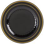 Fineline Silver Splendor 509-BKG 9 inch Black Plastic Plate with Gold Bands - 120/Case