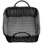 Tablecraft M2493H Black Rectangular Rattan Basket with Handles 19