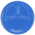 Creative Converting 019258 10 inch 3 Compartment True Blue Plastic Plate - 20/Pack