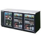 Beverage Air BB72GY-1-BK-LED-WINE 72 inch Black Back Bar Wine Series Refrigerator - Narrow Depth, 3 Glass Doors