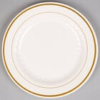 WNA Comet MP9IPREM 9 inch Ivory Masterpiece Plastic Plate with Gold Accent Bands - 12/Pack
