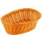 Tablecraft HM1174OR Orange Oval Rattan Basket 9 1/4 inch x 6 1/4 inch x 3 1/4 inch 6/Pack