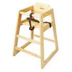 GET HC-100N-1 Stackable Hardwood High Chair with Natural Finish - Assembled