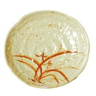 Thunder Group 1807 Gold Orchid 7 1/4 inch Lotus Shaped Melamine Plate - 12/Pack