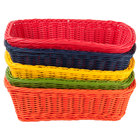Tablecraft HM1185A 11 1/2 inch x 8 1/2 inch x 3 1/2 inch Rectangular Rattan Basket with Assorted Colors - 5/Pack