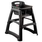 Rubbermaid FG781408BLA Black Sturdy Chair Restaurant High Chair without Wheels (Ready to Assemble)
