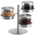 Cal-Mil 1855-5-55 Mixology Stainless Steel Three Tier 32 oz. Metal Lid Jar Display - 16 inch x 12 inch x 11 1/4 inch
