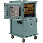 Cambro UPCH16002401 Slate Blue Ultra Camcart Two Compartment Heated Holding Pan Carrier with Casters, Both Compartments Heated - 220V (International Use Only)