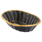 Choice 9 inch x 6 inch Oval Black and Gold Rattan Basket - 12 / Case