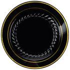 Fineline Silver Splendor 507-BKG 7 inch Black Plastic Plate with Gold Bands - 150/Case