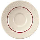 Homer Laughlin 1492-0328 Gothic Red Jade 4 1/2 inch Off White China Saucer - 36/Case