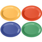 GET OP-120-MIX Diamond Mardi Gras 12 inch x 9 inch Oval Melamine Platter, Assorted Colors - 12/Case