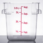 4 Qt. Clear Square Polycarbonate Food Storage Container with Red Gradations