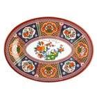 Peacock 9 7/8 inch x 7 1/4 inch Oval Melamine Platter - 12/Pack