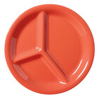 GET CP-10-RO Diamond Mardi Gras 10 1/4 inch Rio Orange Three Compartment Melamine Plate - 12 / Case