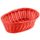 Tablecraft HM1174RD 9 1/4 inch x 6 1/4 inch x 3 1/4 inch Red Oval Rattan Basket - 6/Pack