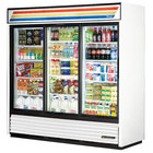 True GDM-69-LD 78 inch Three Section Sliding Glass Door White Merchandising Refrigerator with LED Lighting - 69 Cu. Ft.
